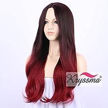 K 'ryssma 2017Fashion Series sintética rojo pelucas para damas Mixed vino rojo pelucas de pelo Ombre negro burdeos con aspecto realista parte media Silky suave pelo 22pulgadas 1B raíces