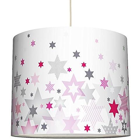 anna wand Lampenschirm STARS 4 GIRLS ROSA/GRAU - Schirm für Kinder / Baby Lampe mit Sternen in versch. Farben und Größen – Sanftes Licht für Tisch-, Steh- & Hängelampe im Kinderzimmer Mädchen & Junge