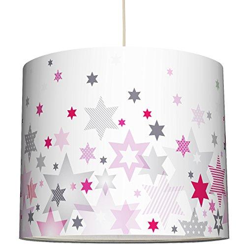 anna wand Lampenschirm STARS 4 GIRLS ROSA/GRAU - Schirm für Kinder / Baby Lampe mit Sternen in versch. Farben und Größen – Sanftes...