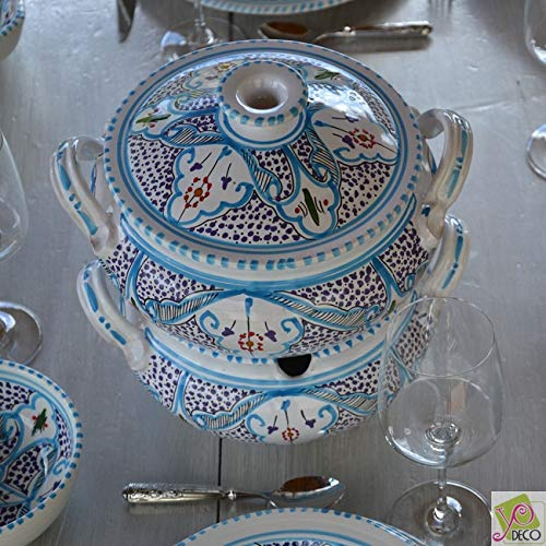 Couscoussier Marocain turquoise - Grand modèle