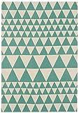 KADIMA DESIGN Moderner Designer Teppich Ouse Rug 160x230 cm ON09 Triangles Teal Türkis 100% Baumwolle