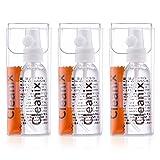 Tre detergenti per occhiali da 60 ml con tre panno di microfibra per la pulizia degli occhiali e kit di pulizia dell'obiettivo - molto facile da usare