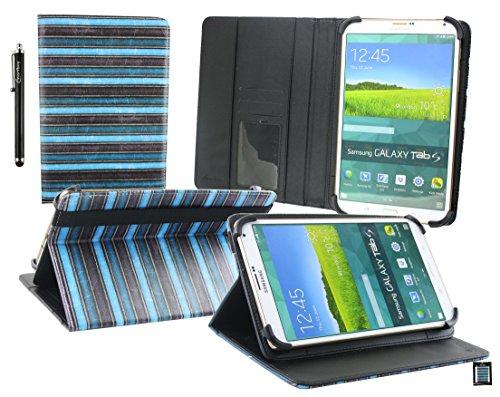 Emartbuy® BigBen Unity Tab 7 Tablet PC 7 Zoll Jahrgang Streifen Blau Multi Angle Exekutiv Folio Mappen Kasten Abdeckung mit Kartensteckplätze + Eingabestift