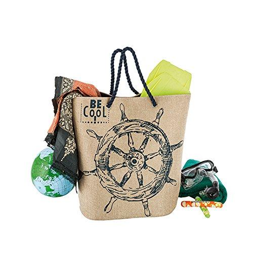 Sehr große XXL Badetasche Strandtasche Jute von Be Cool 56 x 25 x 50 cm. Trendige Tasche, angenehm zu tragen bietet Platz für Ihr großes Handtuch, den Bademantel - einfach alles in einer Tasche. (Tragen Bademantel)