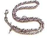 VIVA NATURE Handgeflochtene Hundeleine / Rostfreie Beschläge / verstellbare Führleine /auch für große Hunde \ Flechtleine / Funktionsleine Doppelleine ca.2m 3 Ringe / Hunde / Leine / Geflochten / Handgemacht / Haustier (rosa grau rostfrei)