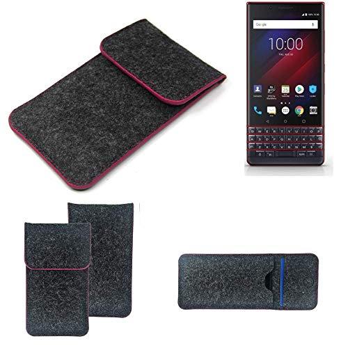 K-S-Trade® Filz Schutz Hülle Für -BlackBerry Key 2 LE Dual-SIM- Schutzhülle Filztasche Pouch Tasche Case Sleeve Handyhülle Filzhülle Dunkelgrau Rosa Rand