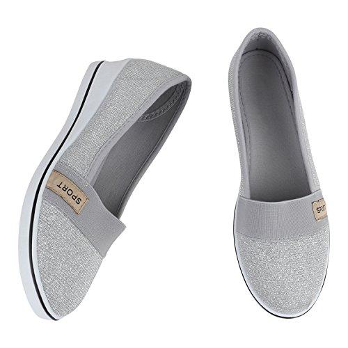 Damen Keilpumps Wedges Canvas Schuhe Pumps Keilabsatz Silber Glitzer