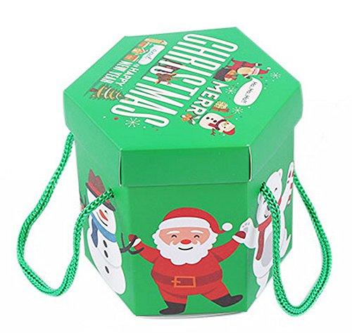Koala Superstore 10 Pack Hexagon Heiligabend Weihnachten grüne Geschenkboxen, Santa Claus -