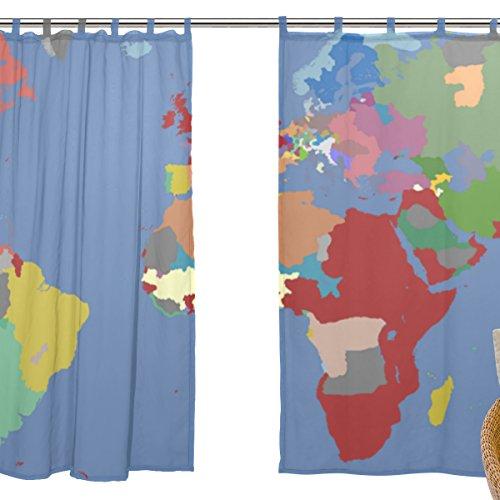 jstel 2pezzi Voile tenda di finestra, Fashion Mappa storica Impero Britannico, Tulle Sheer Curtain Drape Valance 139,7x 198,1cm Set di due