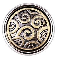 SMALL Click-Button der Marke Morella. Sie haben einen Durchmesser von 12 mm. Der Button zeigt ein messingfarbenes Ornament das fein ausgearbeitet und verspielt ist.