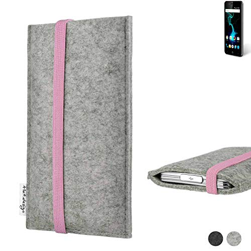 flat.design Handy Hülle Coimbra für Allview P6 Pro handgefertigte Handytasche Filz Tasche Case rosa hellgrau