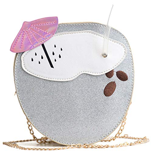 LJSHU Frauen Umhängetasche Gold Kette Schultergurt Kreative Persönlichkeit Getränke Design Damen Messenger Bag Handtasche,Silver