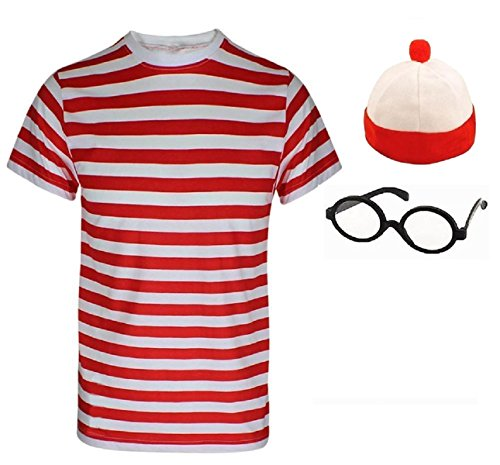 Ladies Mens Wheres Nerd Geek Red & White Stripe Fancy Dress Fresher Costume Book Day 3 & 4 piece set (Mens 2XL, Mens T-Shirt+Hat+Glasses)