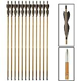 VERY100 12er 32' Traditional Holzpfeile aus Bambus Handmade für langbogen und Recurvebogen Bogenpfeile (schwarz)