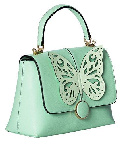 Banned Apparel PAPILIO Vintage Retro geblümt Schmetterling Kunstleder Handtasche Mintgrün