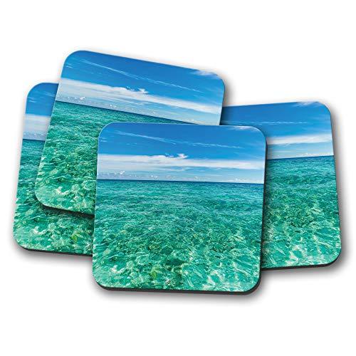 #14930 Untersetzer, Motiv Malediven, Blau, Himmel, Ozean, Urlaub, Reisen, Geschenk, 4 Stück