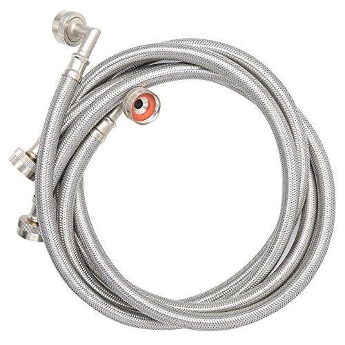 TT Flex UPC zugelassen Flexible edelstahlgewebeschlauch Waschmaschine Schlauch mit Winkelstück, 3/10,2cm fht3/10,2cm FHT, 150, one-pair
