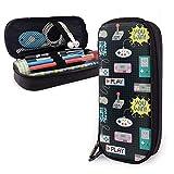 Astuccio portamatite in pelle PU colorato colorato controller di gioco nero con doppia cerniera, astuccio per penne con scatola di cancelleria per ufficio a grande capacità