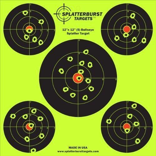 terburst Targets - 30,5 cm x 30,5 cm (5) Bullseye Reaktive Ziele - Schüsse platzen leuchtend fluoreszierend gelb beim Aufprall - Gewehr - Pistole - AirSoft - BB Gun - Luftgewehr ()