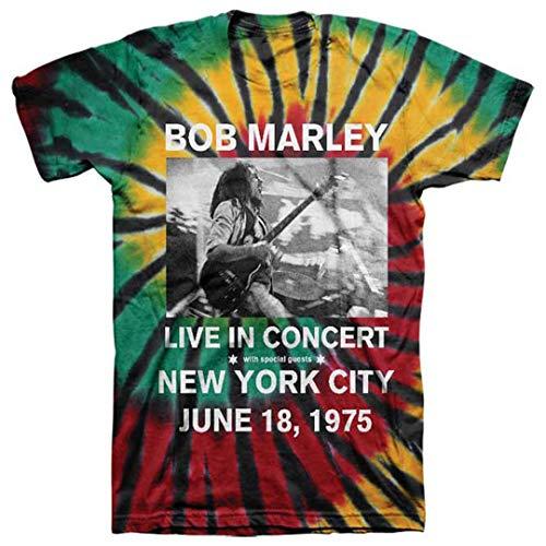 Bob Marley-tie Dye (Bob Marley Live in NYC S/S Tee (Tie-Dye) Men's Rasta T-Shirt)