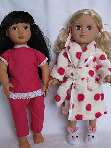 """Fluffy rosa Spot albornoz y pijama para adaptarse a 18muñecas """"como DesignaFriend; Muñeca y nuestra generación"""