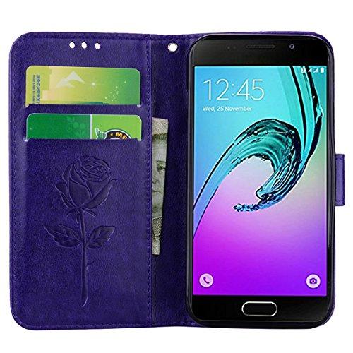 Coque Samsung A3 (2017) Anfire Fleur Motif Peint Mode Coque PU Cuir pour Galaxy A3 (2017) Etui Case Protection Portefeuille Rabat Étui Coque Housse pour Samsung Galaxy A3 (2017) SM - A320 (4.7 pouces) Pourpre