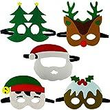 Gudotra 10pz Maschere di Natale Feltro per Bambini Adulti Mascherata per Festa di Natale con Corda Elastica Occhiali Babbo Natale (Maschere Feltro)