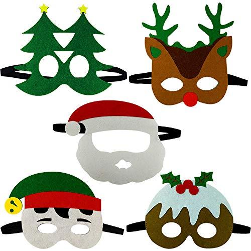 Gudotra 10pz Maschere di Natale Feltro per Bambini Adulti Mascherata per Festa di Natale con Corda Elastica Occhiali Babbo Natale