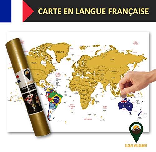 Global Walkabout française - Carte à gratter avec des Drapeaux en arrière-Plan - Affiche de Voyage de Luxe - Pays et Faits - Cadeau de Voyage - Tour du Monde