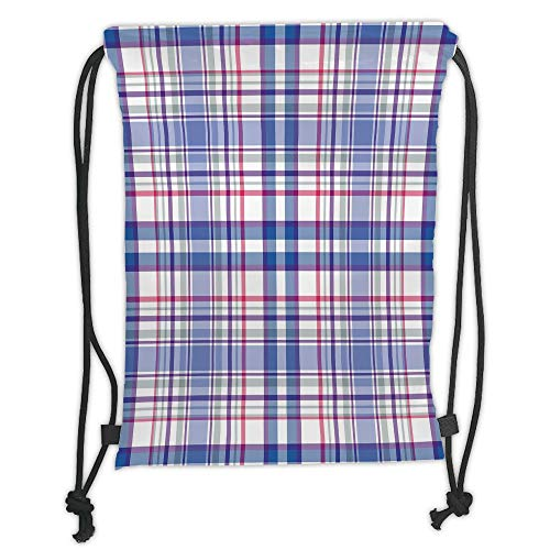 OQUYCZ Drawstring Sack Backpacks Bags,Checkered,Country Inspired Old Fashioned Pattern Picnic Theme Light Colors,Violet Blue White Pink Soft Satin,5 Liter Capacity,Adjustable String Closure,Th Violett Double Old Fashioned