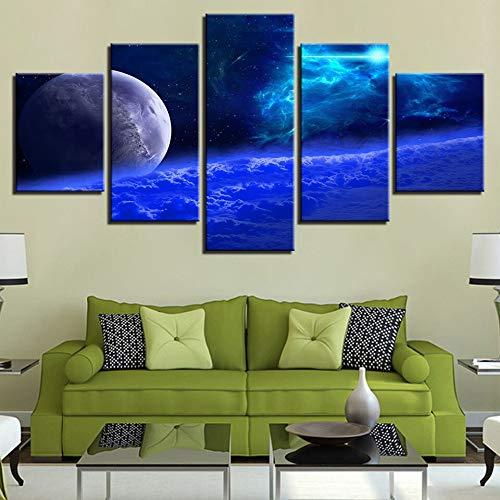 mmwin Arbeit Poster Modulare Leinwandbilder 5 Stücke Abstrakte Planeten Nachtszene Wohnzimmer Wandkunst HD Drucke Dekoration