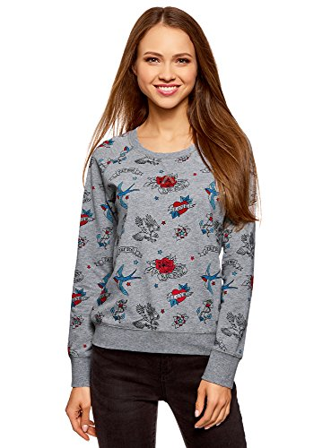 oodji Ultra Damen Bedrucktes Sweatshirt Basic, Grau, DE 40 / EU 42 / L (Basic Jersey-jacke)