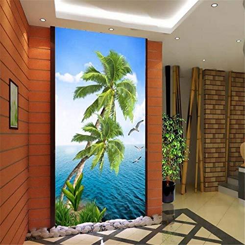 Benutzerdefinierte Wallpaper 3D Fototapeten Realistische Kokosnuss-Baum-Meerblick-Eingang Kreuzung Korridor Tapete 450(L) x300(H) cm