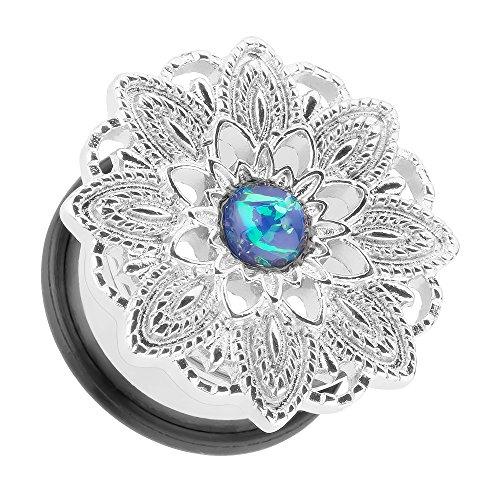 Piersando Ohr Plug Piercing Ear Flesh Tunnel Ohrpiercing Edelstahl Vintage Tribal Ethno Mandala Blume mit Opal Silber 14mm
