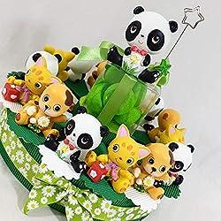 Tarta bombonera de animales simpáticos, ideales para bomboneras, bautizos, nacimientos, niños y niñas. Torta 1 Piano 14 Fette