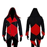 Chaqueta con capucha Rulercosplay para disfraz de Connor Kenway de Assassins's Creed III, de algodón negro/rojo 2X-Large
