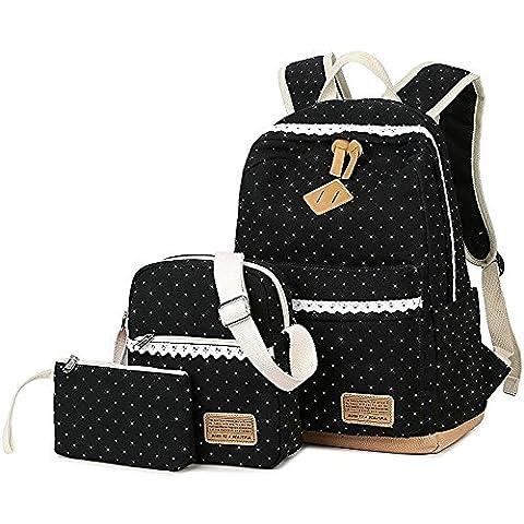Schulrucksack Mädchen Canvas Rucksack Damen Schul Schulranzen/Schultasche 3 in 1