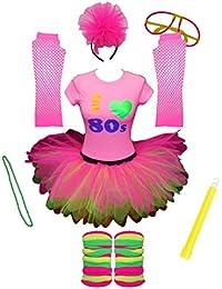 I Love The 80s Pink Ladies Tutu Set Top Legwarmers Gloves Headband Glow Stick Beads Party