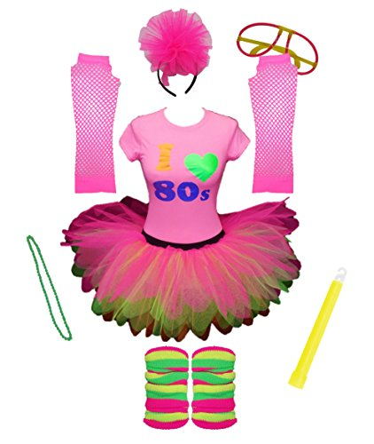 I Love The 80s Pink Ladies Tutu Set Top Legwarmers Gloves Headband Glow Stick Beads Party (Medium)