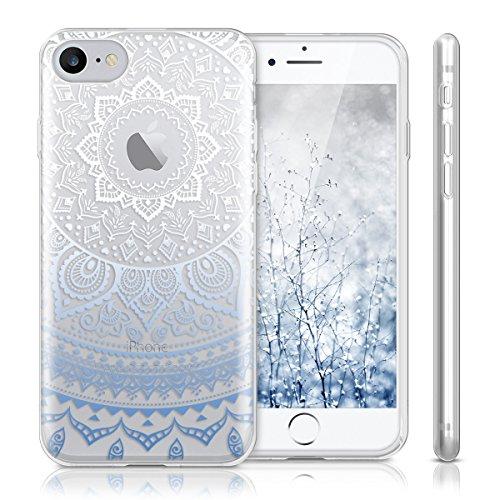 kwmobile Hülle für Apple iPhone 7 / 8 - TPU Silikon Backcover Case Handy Schutzhülle - Cover klar Ananas Strauch Design Rosegold Transparent Indische Sonne IMD Blau Weiß Transparent