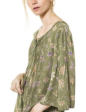 Blusa con estampado floral con ojales