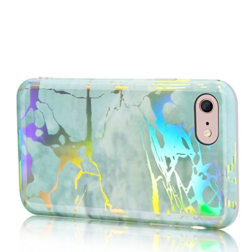 iPhone 6 Hülle, iPhone 6S Hülle, Sunroyal Shiny Change Colour Bunt Marmor Muster Soft TPU Silikon Schutz Handy Hülle Marble Shining Handytasche HandyHülle Glänzend Case Cover Tasche Schutzhülle für iP Farbe 04