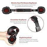 GHB Sades SA-901 7.1CH Surround Sound Stereo Headset PC Gaming Kopfhörer mit USB-Stecker und Mikrofon Rot+Schwarz - 6