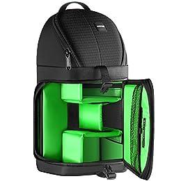 Neewer profesional Bolsa de cámara almacenamiento Durable resistente al agua y prueba del rasgón negro mochila maletín para cámara DSLR, lente y accesorios NW-XJB02S (Interior verde)