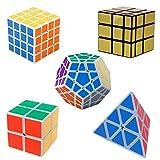 YKL World blanc 2x2, 4x4, Megaminx Dodecahedron, Pyraminx + or 3x3 Mirror Combinaison Cube Puzzle