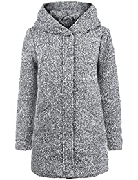 ONLY Birke Boucle Damen Winter Jacke Wollmantel Winterjacke Mantel aus  Bouclé mit Kapuze 2da4b11b56