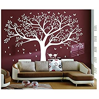 Bdecoll Tree Wall Sticker Art,Large Diy Family Tree Wall Art Paper,Removable Vinyl White Tree Wall Decals Home Decor Art (Family Tree Photo Frames Non)