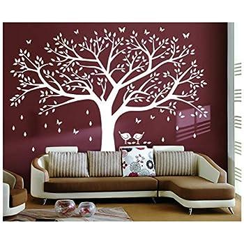 ColorfulworldColor/é Monde 3D Arbre G/éant Cristal Peinture Stickers Muraux Salon Chambre denfants Canap/é Fond D/écorations Stickers Purple-Left, S