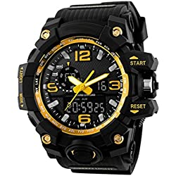 SKMEI Mens Multifunction Digital Sport Watch, Heavy Duty, 165 FT Water resistant - Gold