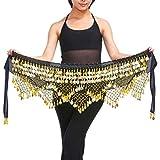 LQZ Women Girl 's Belly Dancing Dance Waist Chain Hip Scarf Skirt Belt With 320 Coins (Black)